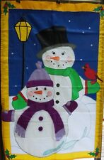 "Snowman Winter Prestige Estate House Flag Premier, Huge 36""x 54"""