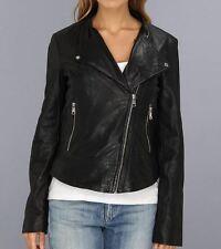 Womens Black ANDREW MARC NEW YORK faux leather biker moto jacket motorcycle