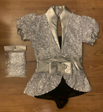 Art Stone Size Child Medium Silver Sequin One-Piece Dance Costume With Headpiece
