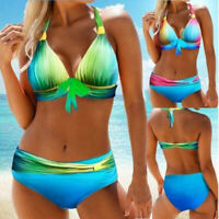 2 Pieces Women Halter Color Gradient Bikini Set Bathing Suits Tankini Swimwear B