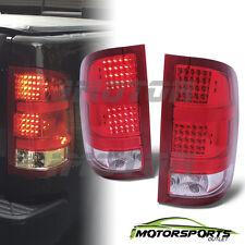 2007-2013 GMC Sierra 1500/2500 HD/3500 HD Red Clear LED Tail Lights Pair