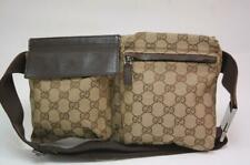 Gucci GG Canvas Monogram Waist Pouch Belt Bum Bag Fanny Pack Brown 1019a