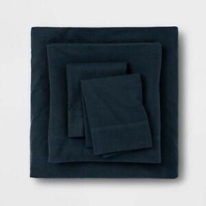 King Solid Fall Flannel Sheet Set Dark Blue Threshold