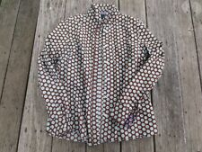 Boden ~ Women's Brown Aqua Polka Dot Button Shirt ~ Size UK 14 US 10
