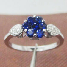 Solid 14k 585 White Gold Natural Sapphire Round Natural Diamond Anniversary Ring