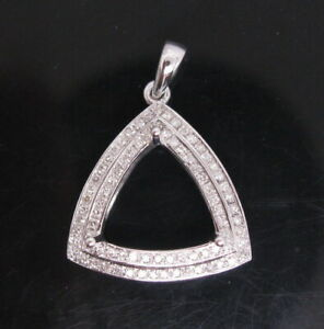 Trillion Cut 11x11mm Solid 14K White Gold Natural Diamond Semi Mount Pendant