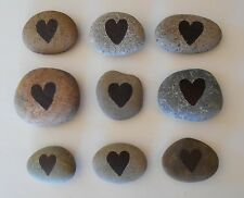 Hand Painted Heart Rocks, Lot of 15 Real Natural Stones for Stacking, Weddings..