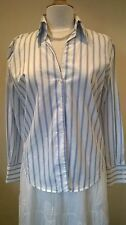 Linea ladies smart blue and white striped cotton blouse Size UK 16