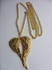 "A Gold Tone Large Angel Wings Charm Pendant 70mmx46mm,  30"" Long Chain Necklace"