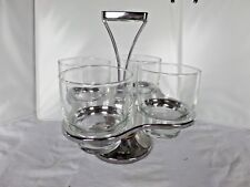 Vintage 4 glass set with silver and wood holder bar ware
