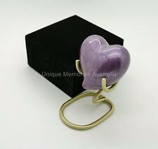 Solid Brass Purple Lavender Keepsake Heart Cremation Memorial Urn + Case + Stand