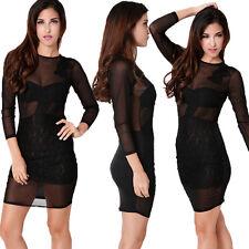 Ladies Sheer Lace Dress Black See Through Bodycon Dress Sexy Night Dress NEW