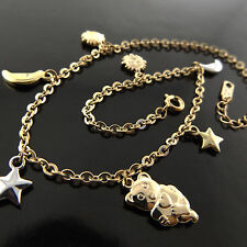 Moon Star Teddy Bear Charm Design Anklet Genuine Real 18K Multi-Tone G/F Gold