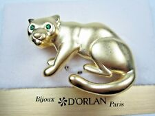 with Swarovski Crystals 1487 D'Orlan Gold Plated Cat Brooch