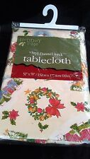 Vintage Tablecloth Christmas Country Snowmen Primitive Wreath Cottage 52x70