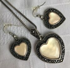 Park Lane Love Story Necklace Earrings Heart Marcasite Framed Ivory MOP Antiqued