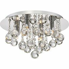 Quoizel BRX1614C Four Light Flush Mount, Clear Crystal, Polished Chrome Finish