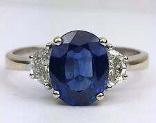 18K Yellow & White Gold Blue Sapphire & Diamond Engagement Ring Certified 2.9 ct