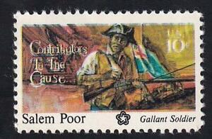 USA 1975 MLH major color shift, Bicentennial Salem Poor 10¢, sc#1560