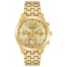Bulova Men's Diamond Accents Chronograph Quartz Gold-Tone 40mm Watch 97D114