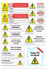 Solar PV Safety Warning Labels Decals AC DC Danger High Voltage Sticker Pack
