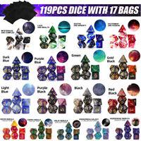 119pcs / Set Galaxy Polyédrique Dé Pour Mdn RPG MTG Jeu Donjons Dragons + 17 +A