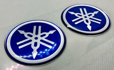 2x Yamaha Roundal Logo Badge 3D Domed Stickers. Silver Blue. 50mm diam.
