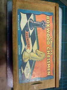 Vintage Chess Set Lindops Boxwood Chessmen In Box