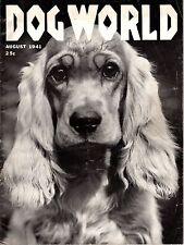 Vintage Dog World Magazine August 1941 Cocker Spaniel Cover