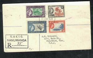 GILBERT & ELLIS ISLAND COVER (P2406B)1965 QEII 1/3D+2D+5D+6D REG NANUMANGA TO US