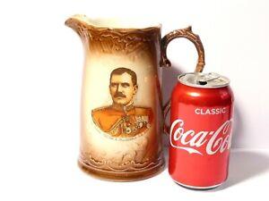 "19thC Maj Gen Hector Macdonald Portrait Boer War Pottery Water Jug 7"" #1"