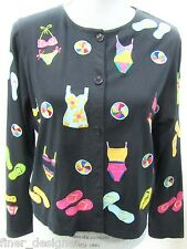 MICHAEL SIMON Lite Long Slv Knit Top button beach jacket shirt blouse colorful M