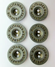 6 Vintage Equipements Militarires Metal Buttons French Military Star Emblem #6O