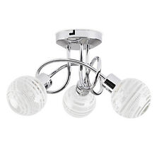 Modern Silver Chrome 3 Way Ceiling Light Fitting Spiral Design Glass Shades Home