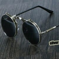 Men Vintage Steampunk Polarized Sunglasses Fashion Round Retro UV400 Eyewear