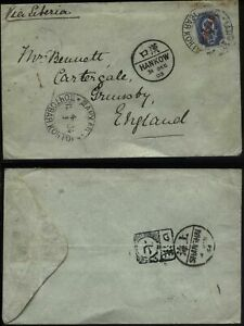1903 RUSSIA post offices in CHINA, HANKOW posted to Grimsby, England