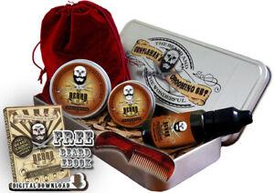 Beard Grooming Gift Set, Mustache Wax,Beard Balm, Oil,Comb - Cedarwood Fragrance