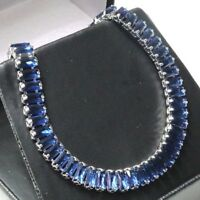 Sparkling Radiant Blue Sapphire Bracelet Women Jewelry 14K White Gold Plated
