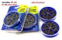 1 Pack Assortment split shot Lead sinker pack 255 Pcs Fly Fishing