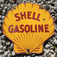 VINTAGE SHELL GASOLINE PORCELAIN SIGN AMERICAN GAS STATION MOTOR OIL PETROL CAR