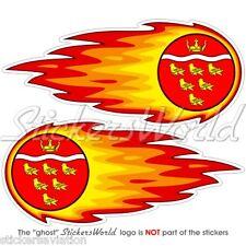 """East Sussex Inglaterra Bola De Fuego-Fire-llameante 125 mm (5"""") x2 Pegatinas De Parachoques Casco"""