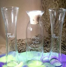 Wedding Unity Sand Ceremony Glass  Personalized cork stopper  curved side vases