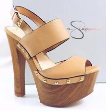 Women's Jessica Simpson DALLIS Platform Heels Sandals Leather Ambra Sand Size 9