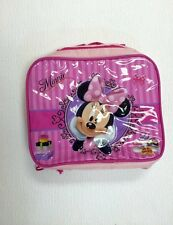 Girls Disney Minnie Mouse Insulated Raised Front Pink Lunch bag School Nursery