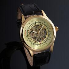 Mens Watch Mechanical Hand-winding Black Leather Skeleton Analog Display Luxury