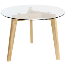 HARTLEYS SOLID OAK AND GLASS SMALL ROUND TOP CHIC SIDE/END COFFEE LOUNGE TABLE