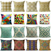 Boho Style Vintage Colorful Geometric Cotton Linen Pillow Case Cushion Cover