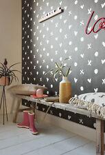 Vlies Tapete Herz Kreuz Punkt Muster schwarz weiß Cozz 36294-1