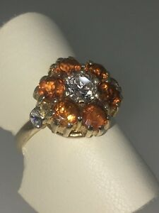 Diamond & Golden Citrine (0.60ct) Daisy Shaped Ring in 9K Gold + FREE Shipping!
