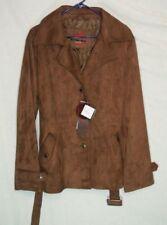 NEW ITALY DESIGNER Bottega VENEZIA BROWN Leather BELT COLLAR PEA COAT Jacket XL